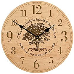 Personalized Wedding Gifts for him her parents Modern Decorative desk wall Clocks Housewarming ideas Custom engraved Our Family Like Branches on a tree 12x12 By Dayspring Milestones (Maple)