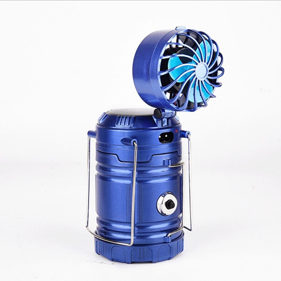 Vovomay Portable Fan Solar Lantern Outdoor Multi-function Solar Rechargeable Fan LED Camping Light Flashlight (Blue)