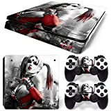 ZoomHit Ps4 Slim Playstation 4 Slim Console Skin Decal Sticker Harley Quinn + 2 Controller Skins Set (Slim Only)