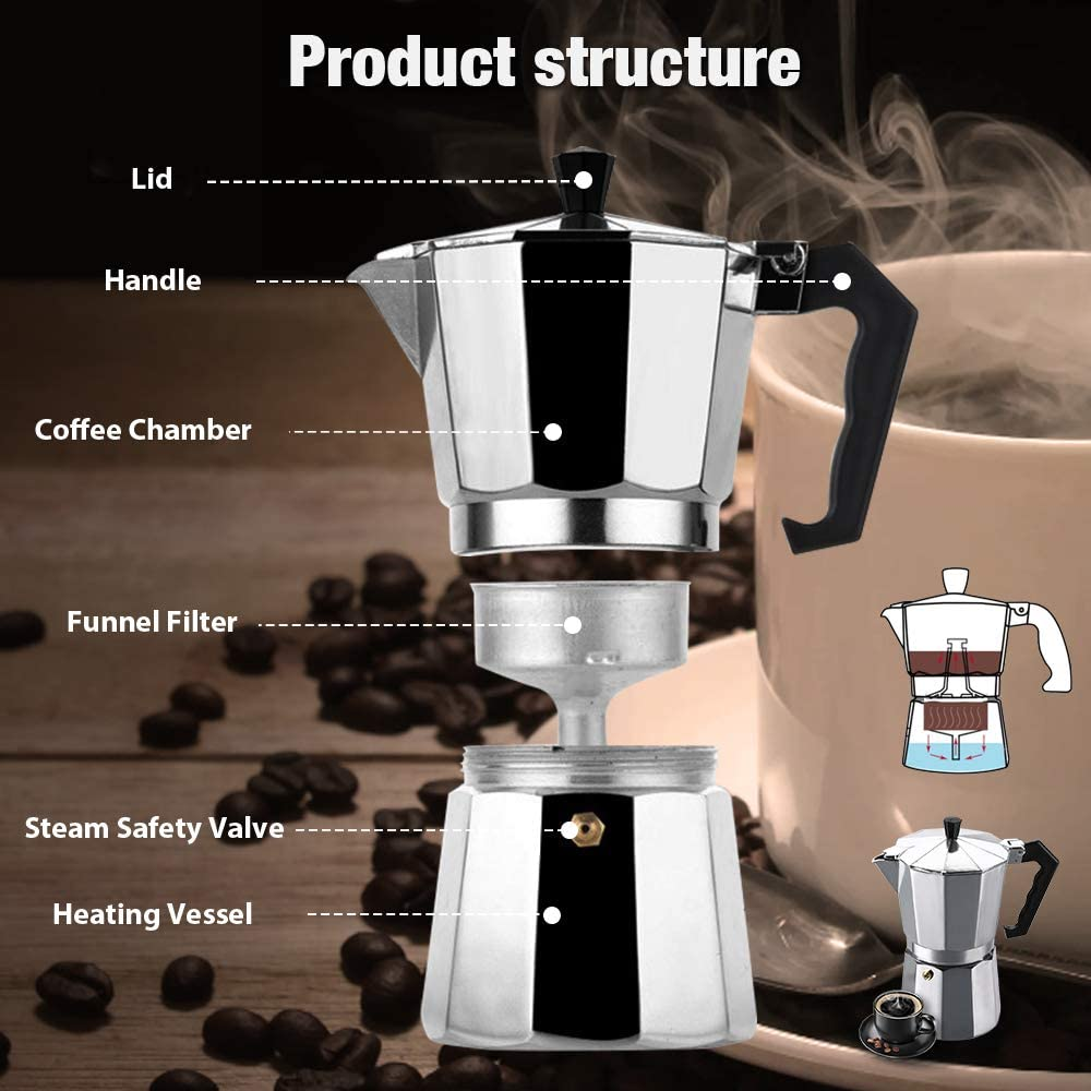 Vinekraft Moka Express Cafetera Espresso Cafetera Italiana de Aluminio, 6 Tazas: Amazon.es: Hogar