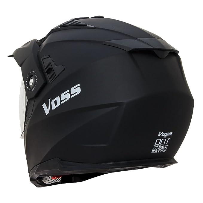 Amazon.com: Voss 601 D2 Dual Sport Helmet with Integrated Sun Lens and Ratchet Quick Release System - Large - Matte Black: Automotive