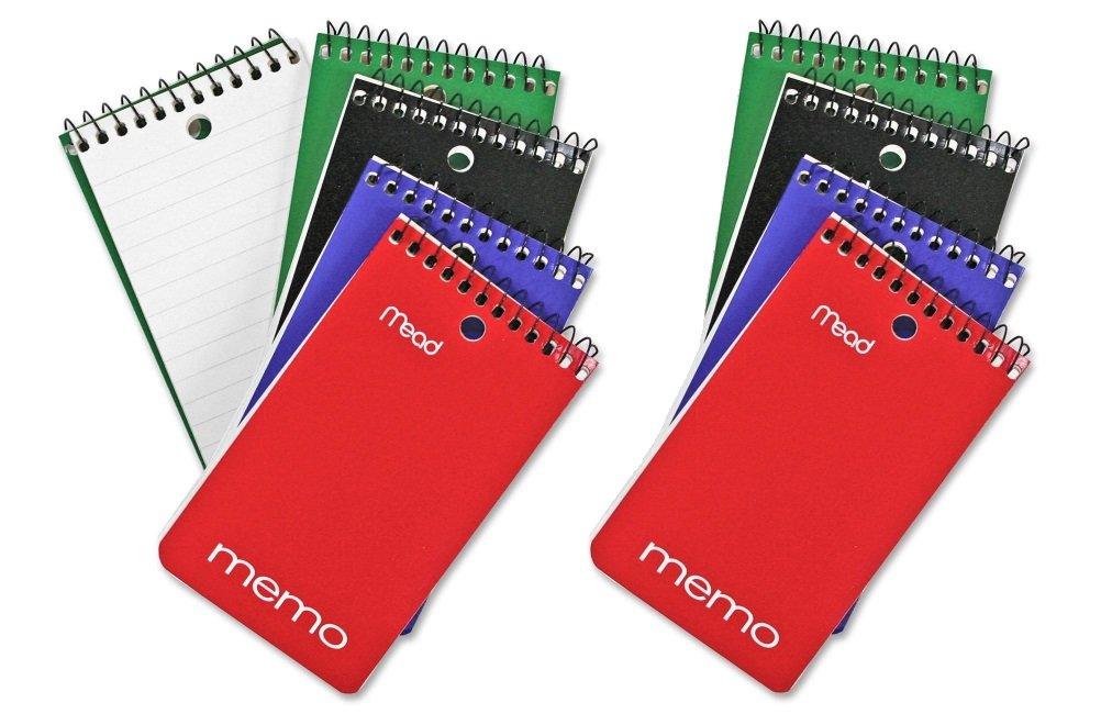 Mead College - Cuaderno de rayas, notas con rayas, de 15 x 10 cm, 60 hojas, varios colores (paquete de 8) 945746