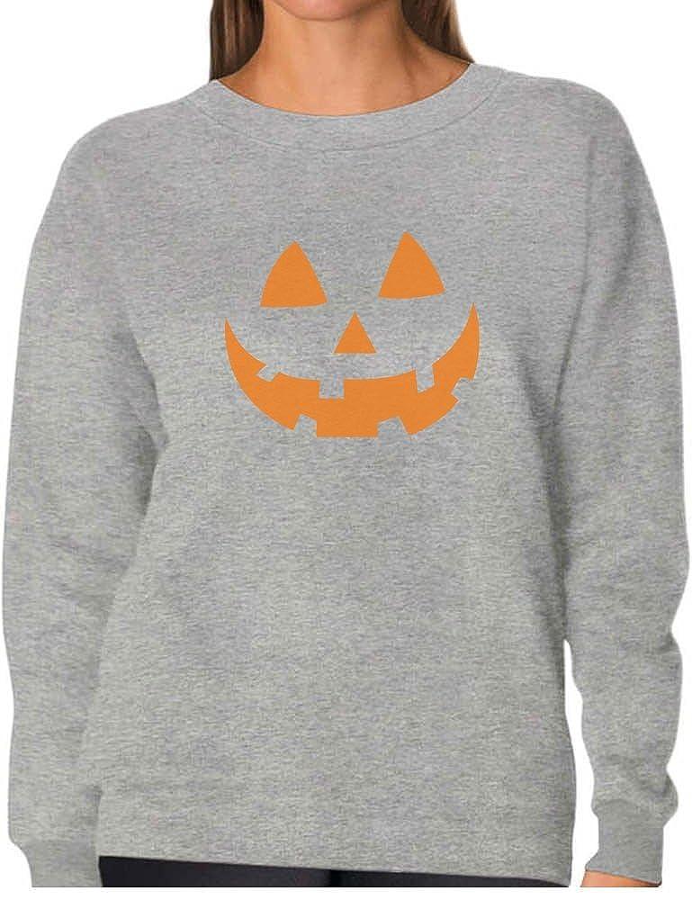 Orange Pumpkin Face Jack O' Lantern Halloween Costume Women Sweatshirt GhPhM00g8