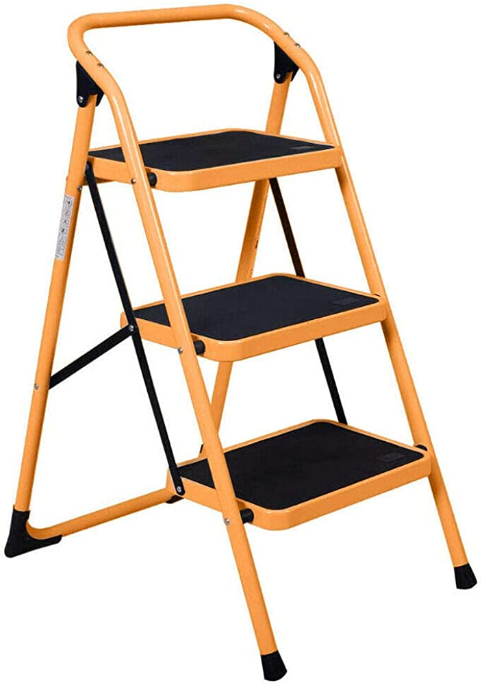 3 Steps Ladder Folding Non Slip Safety Tread Industrial Home Use 330Lbs Load Yellow