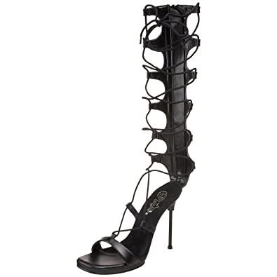 f5ec4e36e3 Pleaser Womens Strappy Lace Up Sandals Knee High 4 1/2 Inch Stiletto Heel  Ankle