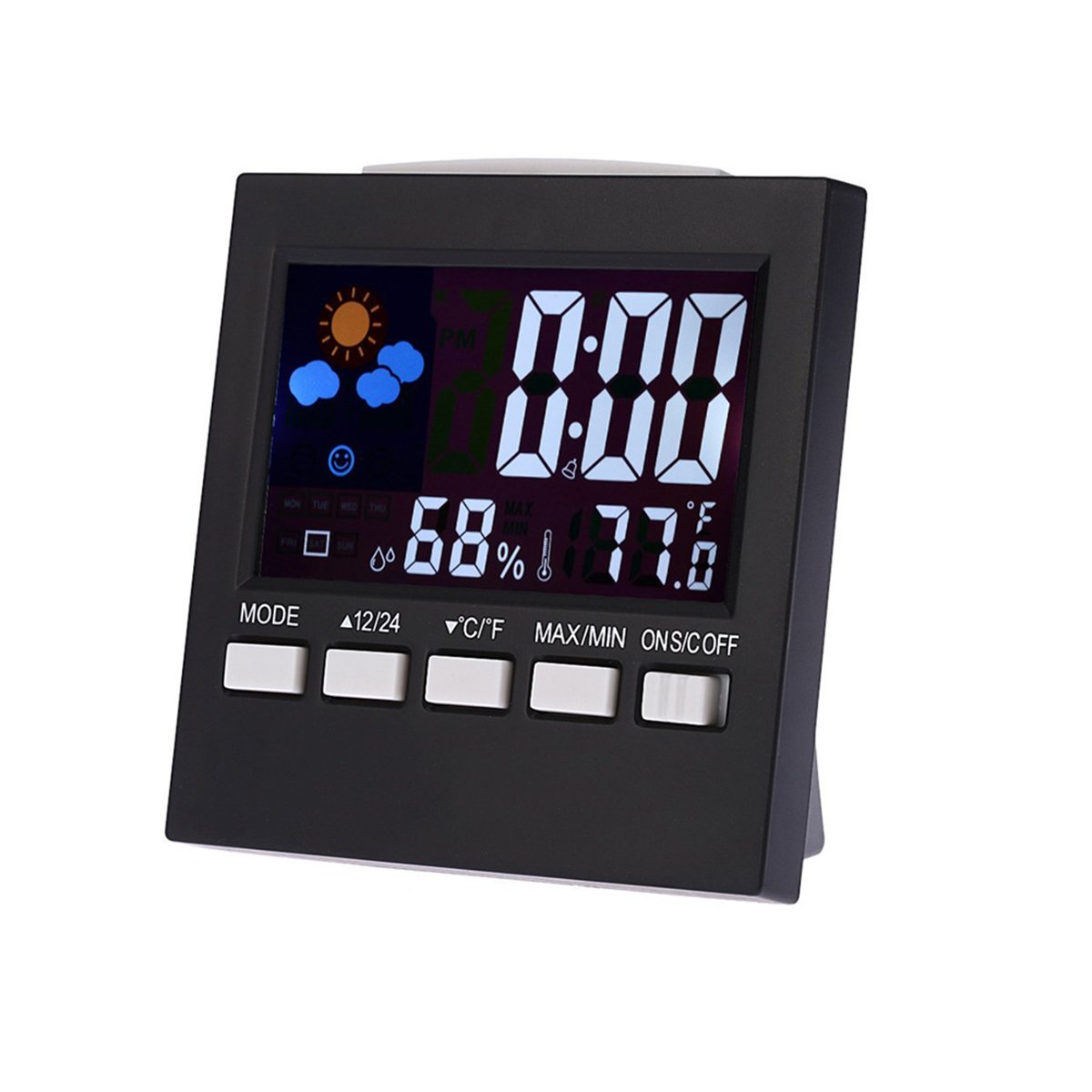 Enjoy Best Time Digital Weather Forecast Thermometer Hygrometer Clocks For Household-Mini Snooze Light Table Alarm Clocks For Traveling(Black)