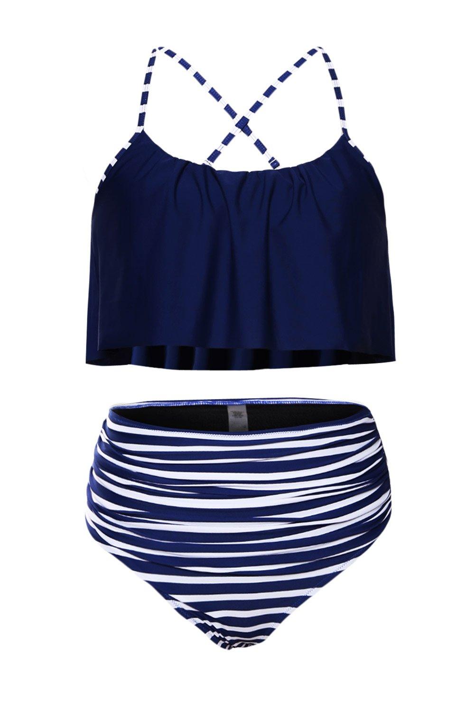 Byoauo Womens High Waisted Bikini Ruffle Thin Shoulder Straps Swimsuit Two Pieces Swimwear