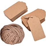 Mudder 7 by 4 cm Kraft Paper Tags Luggage Tags Gift Tags Wedding Paper Tags with 30 Meters Twine, 100 Pieces (Brown)