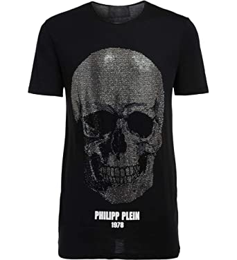 75d29cc33b Amazon.com: Philipp Plein Men's T-Shirt Black Cut Nera Con Teschio S ...