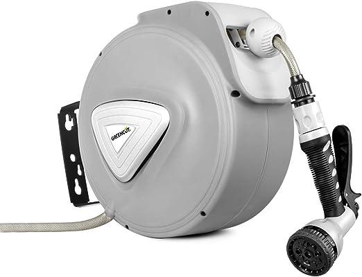 GREENCUT MNG100 - Manguera de agua de 10m con enrollador automatico, soporte de pared y presion de trabajo 8bars: Amazon.es: Jardín