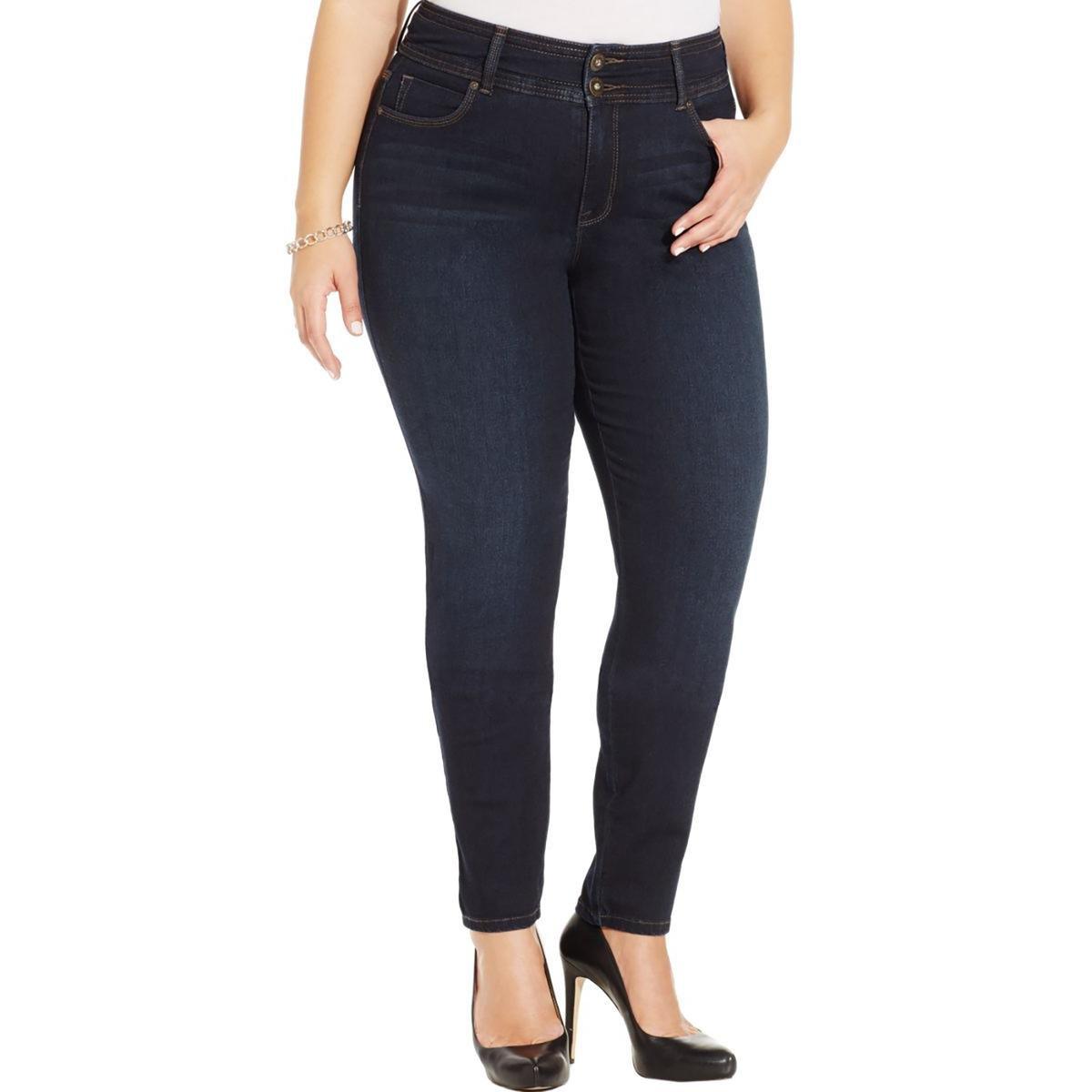 Style & Co. Womens Plus Skinny Leg Tummy Control Slim Leg Jeans Denim 24W