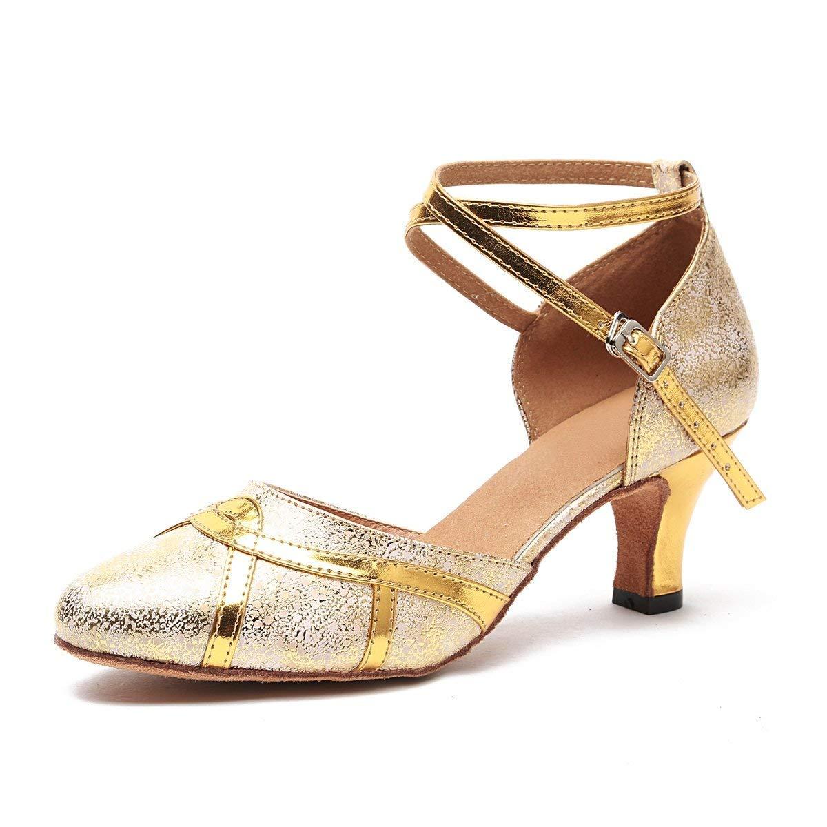 ZHRUI Frauen 2,5 Heel Gold Synthetische Latin Salsa Tanzschuhe Hochzeit Pumps UK 4,5 (Farbe   -, Größe   -)