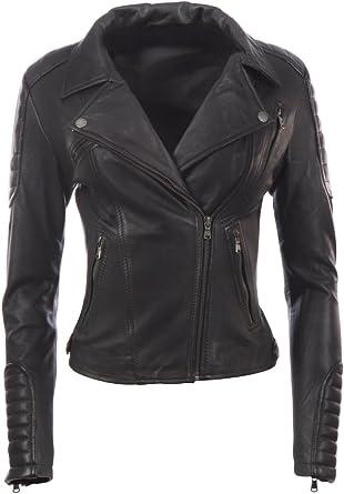 Femme Veste De Motard En Cuir Look Noir Rouge UK 6 8 10 12