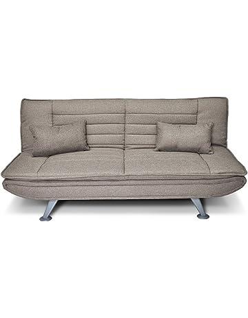 Sofá cama clic-clac de tejido gris pardo - Sofà tres plazas - mod.