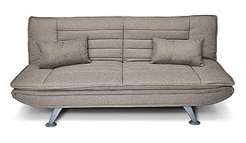 Divano letto clic clac in tessuto tortora - divano Iris 3 posti con ...