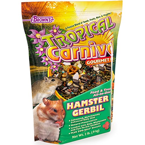 F.M. Brown's Tropical Carnival Gourmet Hamster and Gerbil Food with Fruits, Veggies, Seeds, and Grains, Vitamin-Nutrient Fortified Daily Diet, (Tropical Carnival Hamster Food)