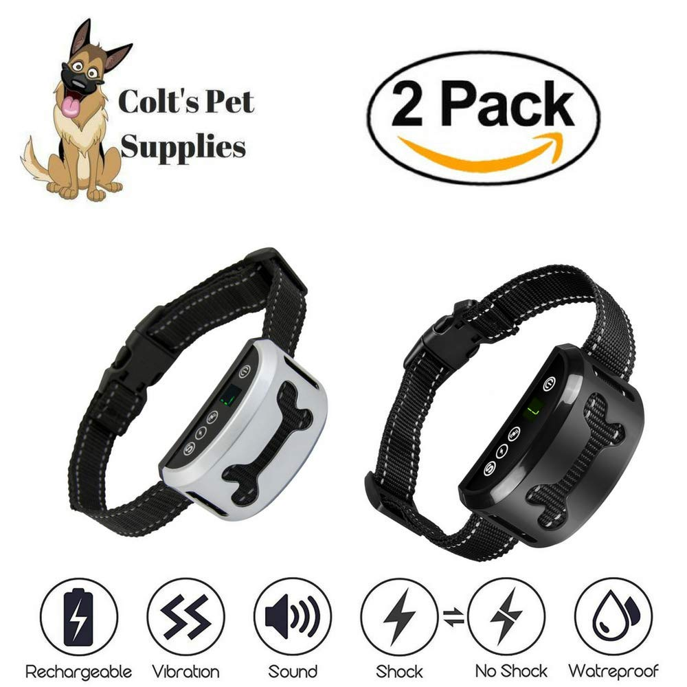 Bark Collar 2 Pack [Upgraded]   Anti-Barking Collar   Smart Chip   Beeps/Vibration/Shock Mode   For Small Medium and Large Dogs All Breeds Over 6 Lbs