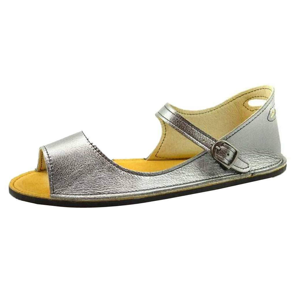 Hermia Women's Summer Retro Buckle Sandals Student Flats Open Toe Shoes with Adjustable Ankle Buckle Women Gift (Color : Silver, Size : 5.5 M US) by Hermia