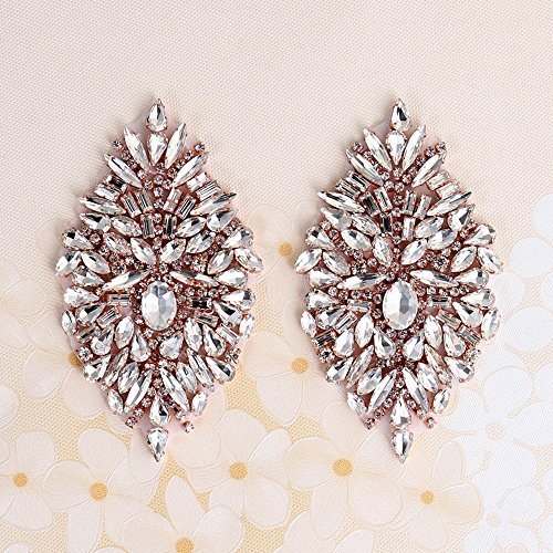 (Rhinestone Iron On Patch Motif Applique DIY Crystals Patch Rhinestone Hot Fix Applique Sewing Appliques For Shoes Rose gold-Pack- 2 Pieces(4.1