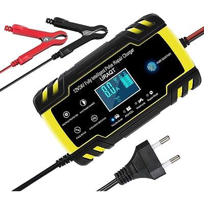 URAQT Cargador Baterias Coches, 8A 12V/24V Mantenimiento Automático e Inteligente Múltiples Protecciones LCD y Botón de la Pantalla Táctil para Automóvile, Motocicleta, ATVs, RVs, Powersports, Barco