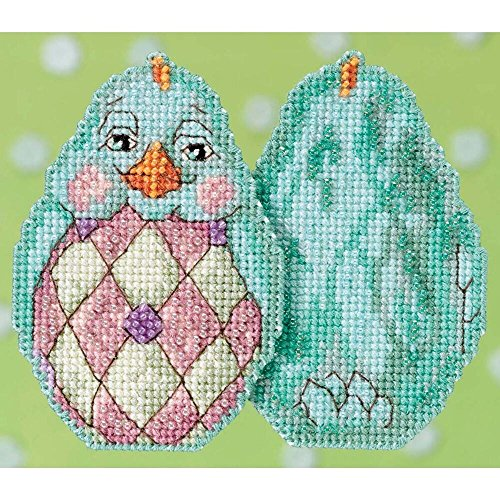 Aqua Chick Beaded Counted Cross Stitch Easter Ornament Kit Mill Hill 2017 Jim Shore JS181714 (Stitch Jim Cross Shore)