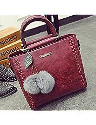 Da Wu Jia Women's Handbag Fur ball women bags handbags woven shoulder Crossbody bag , red