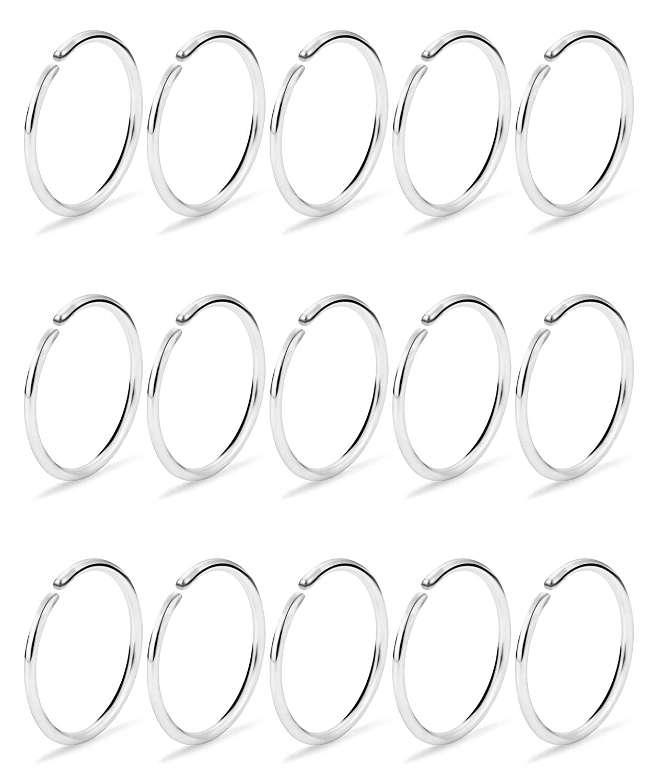 Dyknasz 15-30Pcs 22-18G Nose Rings Hoop Surgical Steel Fake Nose Ring Tragus Cartilage Helix Piercing Earring Hoops Septum Lip Ring 6-14MM for Women Men