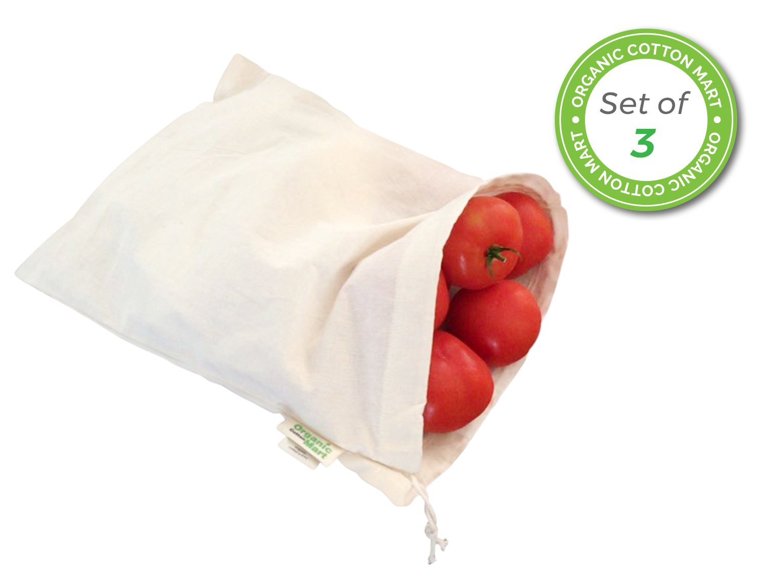 Reusable grocery bags for produce - Reusable Produce Bags Small - Small muslin bags for Brewing - Organic Cotton with Drawstring - Small Organic Tea Bag - Set of 3 (3, Small - 8''x10'')