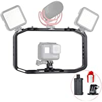 All in 1 Aluminium Handheld Video Rig Cage Vlog System Grip with Mic Cold Shoe 1/4'' for iPhone DSLR GoPro 6 5 Mobile Fillmakers
