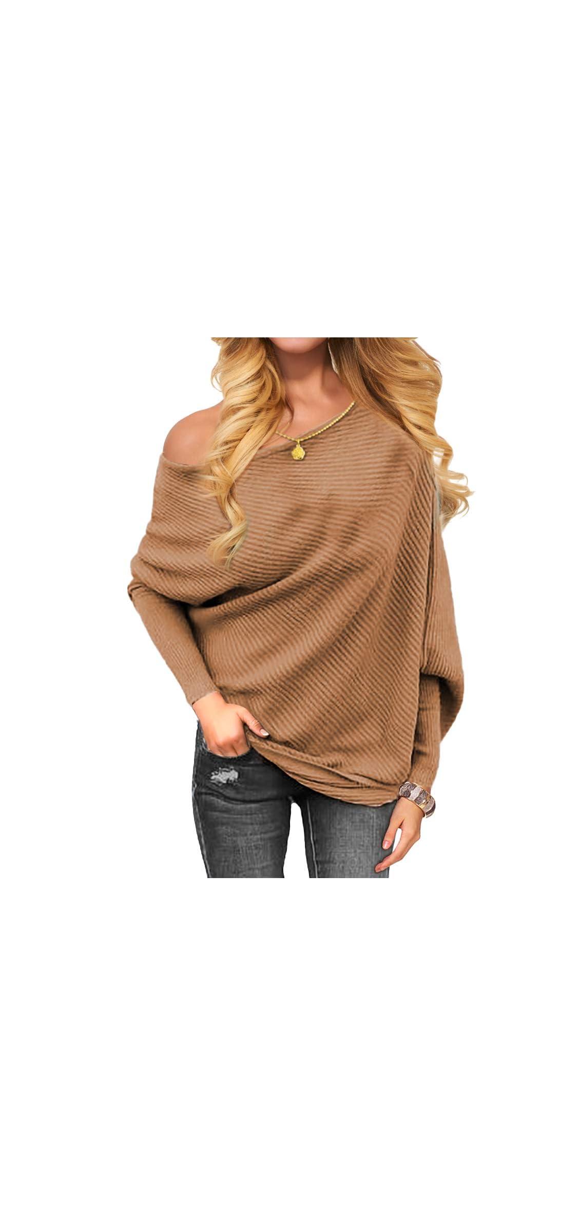 Women's Off Shoulder Knit Jumper Long Sleeve Pullover