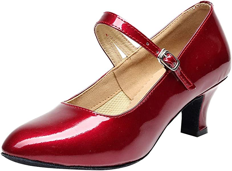 Amazon.com | Mysky Fashion Women Classic Solid Color Glossy Tango Party Shoes Ladies Casual Buckle Ballroom Dancing Shoes | Shoes