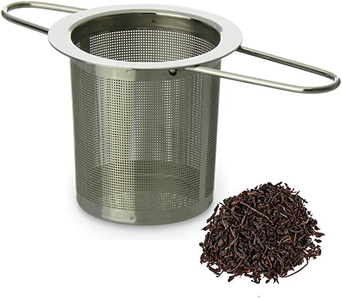 Tea Strainer Infuser Filter Herb Leaf Steeper with Lid Chain Secure Locking one