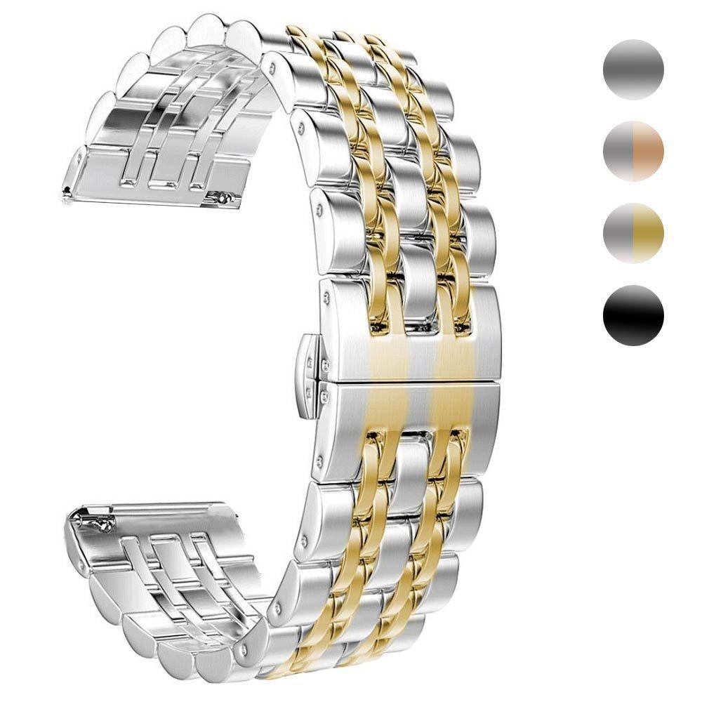 LilyCase Fitbit用Versaバンドレディースメンズソリッドステンレススチール交換用バンドアクセサリーラグジュアリーメタルビジネス時計ストラップリストバンドfor Fitbit Versaバンドスマートウォッチブラック、ゴールド、ローズゴールド、シルバー B07C2NNXK2 ゴールド ゴールド