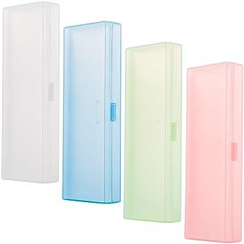 Estuche para lápices de 4 piezas, transparente, caja de almacenamiento con tapa con bisagras y cierre a presión, herramienta para lápices, estuche ...