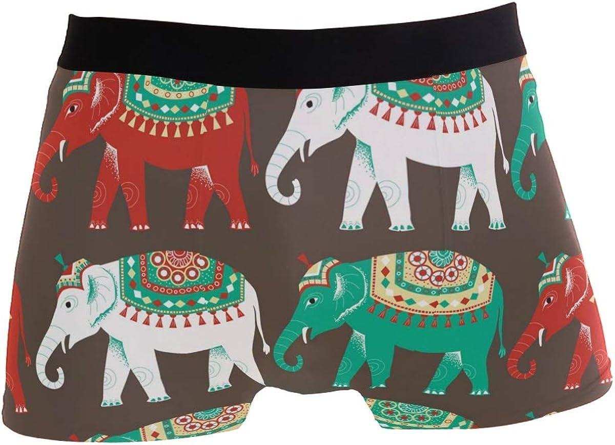 Mkuell Elephant Comfortable Mens Boxer Briefs Multi-Size Soft Underwear S
