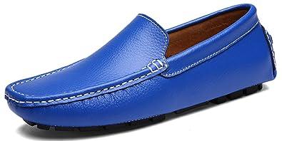 SEECEE Herren Mokassins Weich Leder Bootsschuhe Slipper Rutschfest Männer Fahrschuhe Freizeitschuhe Loafers Schuhe Schwarz 40 EU rea5LGfA