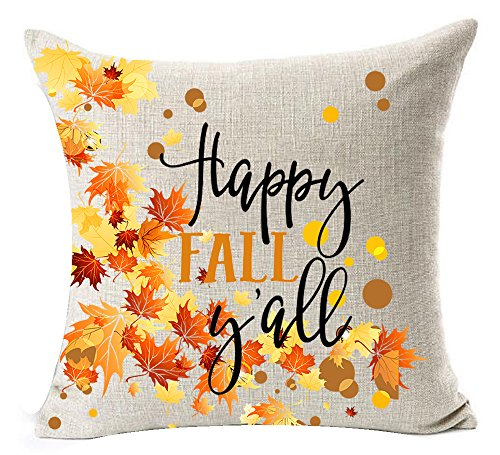 Pumpkin Maple Leaf Wreath Personalized Happy Fall Yall Letters Halloween Thanksgiving Gifts New Home Room Sofa Car Decorative Cotton Linen Throw Pillow Case Cushion Cover Square 18 X 18 Inches