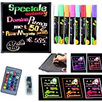 ICOCO LED Message Writing Board,7 Colors Flashing Mode Remote-Control DIY Message Chalkboard,Illuminated Erasable Neon Effect Restaurant Menu Sign with 8 color Marker for Kitchen Wedding Party-32x24