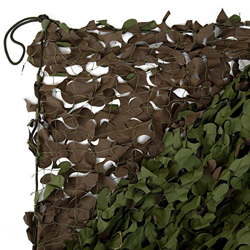 200 Sq Ft Coverage (Woodland Camouflage Netting, 20ft x 10ft, Reinforced Backing, 90% Cover, 200 sq ft.)