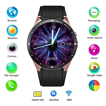Leo565Tom - Reloj Inteligente con Bluetooth para Android 7.0 1.3 GHz Quad-Core 16 GB