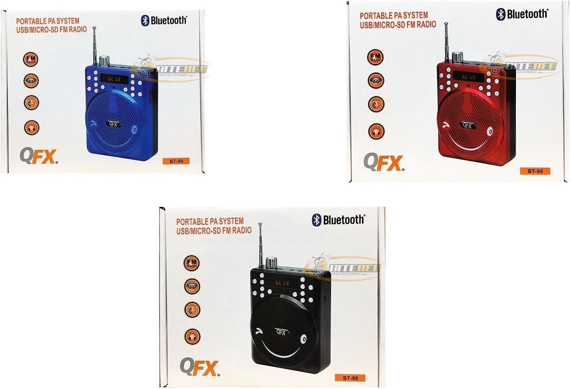 FM RECORDING Blue QFX BT-90 BLUETOOTH PORTABLE PA SYSTEM w//USB//MICRO-SD //MIC