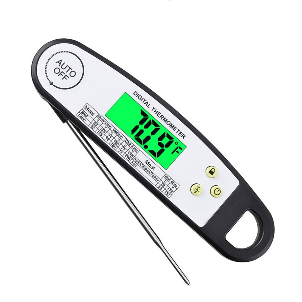 E-More Food Thermometer, LCD Digital Probe Instant Read Cooking Thermometers for Kitchen, Cooking, Barbecue, Water, Liquid, Meat Thermometer for Home and Outdoors(Battery Included)
