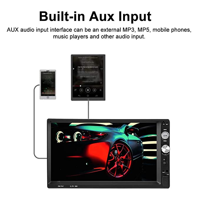 Xigeapg New 7 2 Din Touch Screen Car MP5 Player Bluetooth Stereo FM Radio USB//TF AUX In
