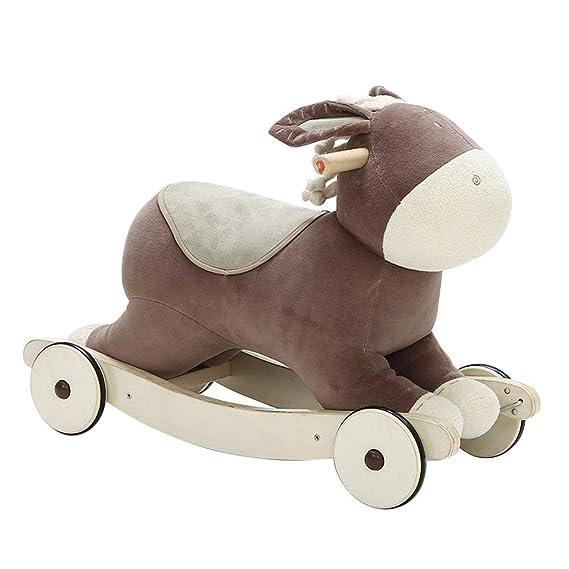 Labebe niño mecedora caballo de juguete Animal de peluche, mecedora juguete, 2 en 1 Rocker con rueda para bebés de 6 - 36 meses, niños mecedora juguete de ...