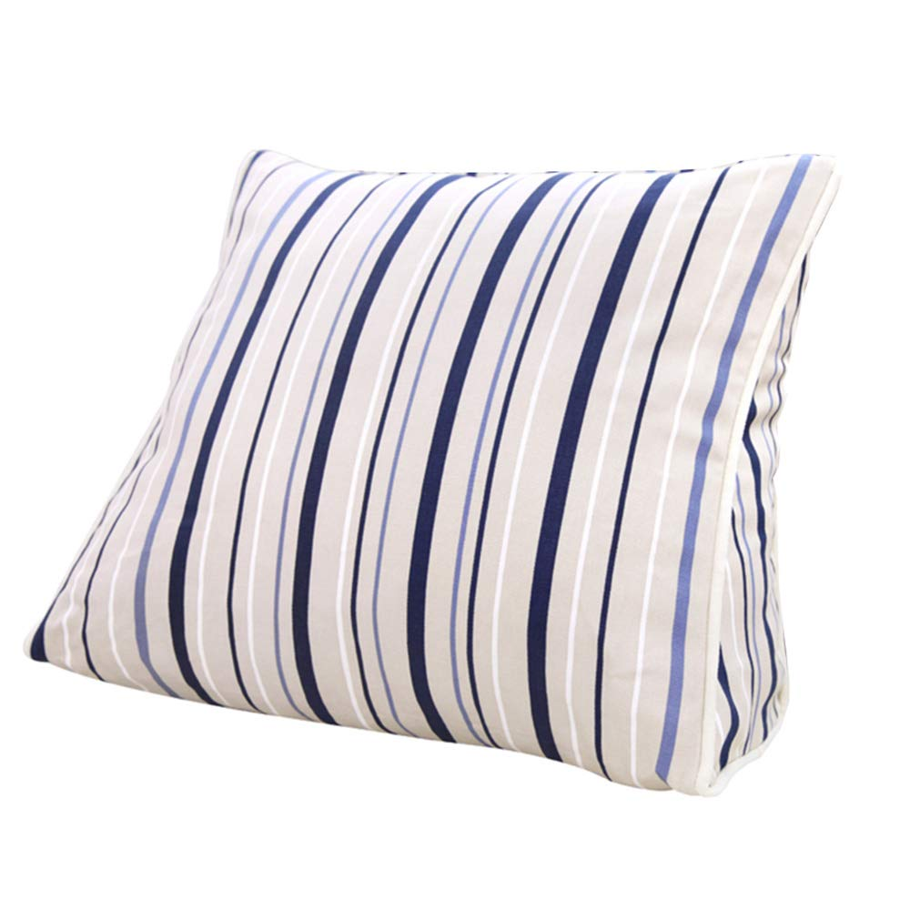 Lumbar Pillow Cailin, Triangle Cushion, Bed Backrest, Office Pillow, Geometric Blue Stripe (Size : 451540CM)