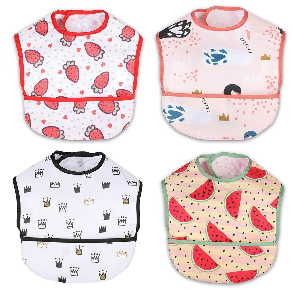 NoriNori Baby Bib - Toddler Bib, Food Bib, Feeding Bib, Infants Bib with Pocket, Waterproof, Oil-repellent, Machine Washable, soft, Stain and Odor Resistant, Girls 4-Pack, 6-48 Months