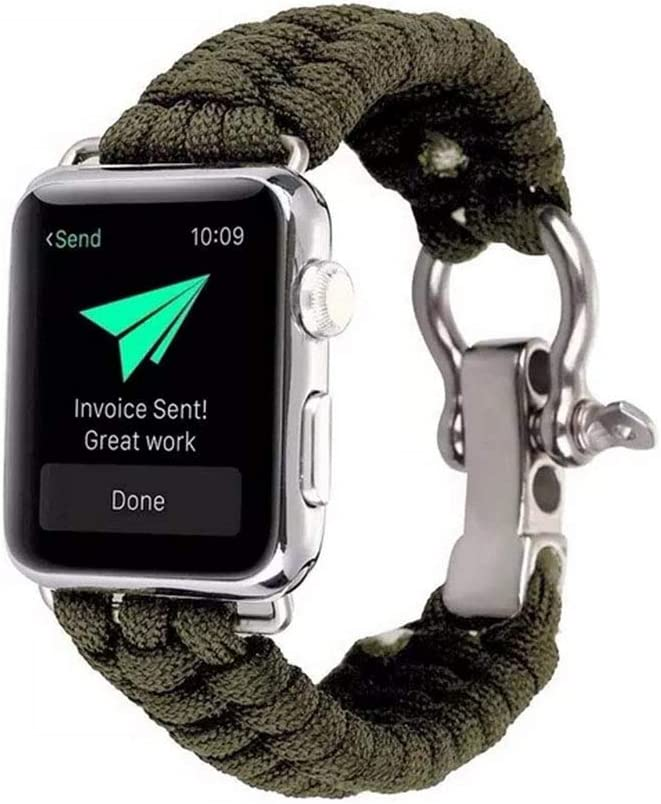 sunnyspo - Correa de Repuesto para Apple Watch de 38 mm a 42 mm, Cuerda de Nailon Tejida, Correa de Reloj con grillete de Acero Inoxidable para iWatch ...