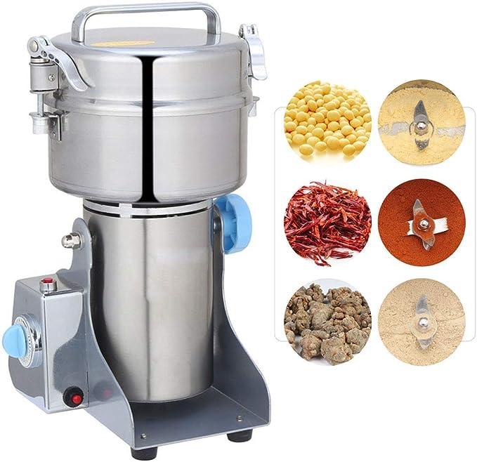 500G Tipo De Swing Molino Eléctrica Del Grano Superfino Máquina De Polvo De Acero Inoxidable Para Moler Cereales, 3 Cuchillas Dentadas Rectificadora Robot De Cocina De Alta Velocidad: Amazon.es: Hogar