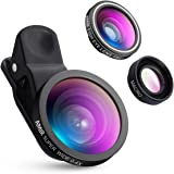 AMIR 3 in 1 Fisheye Lens & Macro Lens & 0.4X Super Wide Angle Lens, Clip on Cell Phone Lens Camera Lens Kits for iPhone 7, 6s, 6, 5s & Most Smartphones