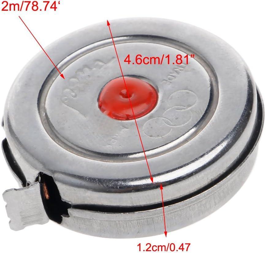 2 m Cuigu Metric Mini m/ètre-ruban r/étractable en acier inoxydable